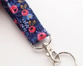 Keychain, Key Fob, Wristlet Lanyard, Floral Wristlet, Pink and Navy