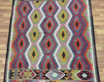 Impressive Aztec Tribal Patterns Vintage Turkish Barrak Kilim Rug,Perfect  Color Combo Organic Wool Peerless