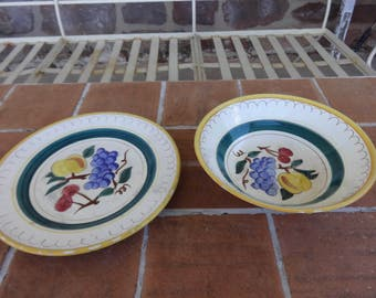 lot of 2, vintage stangl pottery fruit bowl & plate Trenton NJ 1930-40's collectible
