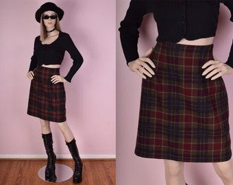 90s Plaid Wool Skirt/ US 8/ 1990s