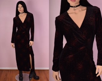 90s Black Velvet Red Glitter Dress/ US 8/ 1990s/ Long Sleeve