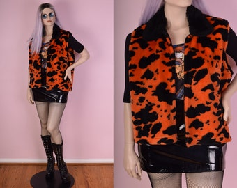 90s Orange Cow Print Faux Fur Vest/ XL/ 1990s/ Plush/ Clubkid/ Rave