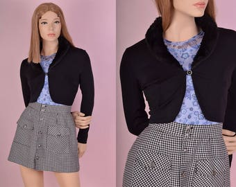 90s Black Faux Fur Collar Cardigan/ Medium/ 1990s/ Cropped