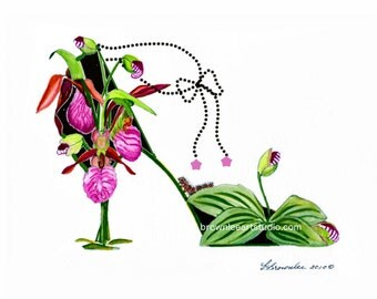 Lady Slipper - Pink with Ankle Chain Shoe Print  2010 rev. 2016 - Ships Free - Enhanced with Paint