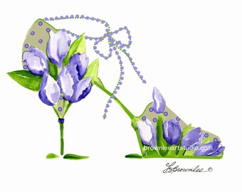 Lavender Tulip with Polka Dot Flower Shoe Print -   Signed - Free Shipping Wall Art