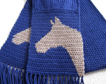 Knit Horse Scarf. Celestial blue, knitted and crochet scarf with horse head silhouettes.