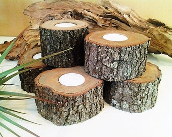 25 Rustic Wood candleholders, Tree log candles, Rustic Wedding candles, Party events, Bridal showers, Home decor, Cabin decor