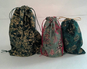 Touch of Gold Christmas Drawstring Fabric Gift Bag  Reusable, Eco Friendly, Sustainable