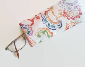 Colorful Floral Upcycled Eyeglass Case Sunglasses Holder