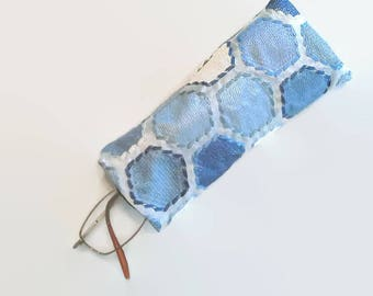 Blue and White Hexagons Upcycled Soft Eyeglass Case Sunglasses Holder Repurposed, Sustainable