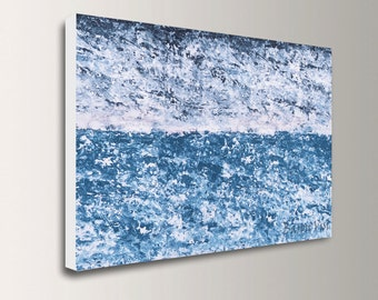 blue art abstract acrylic painting large canvas home office interior bedroom decor wall art palette knife textured Fine Art custom Visi