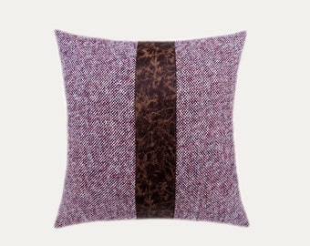 """Decorative pillow case, Off White-Burgundy fabric with Brown Faux leather accent Throw pillow case, fits 18"""" x 18"""", Toss pillow case"""