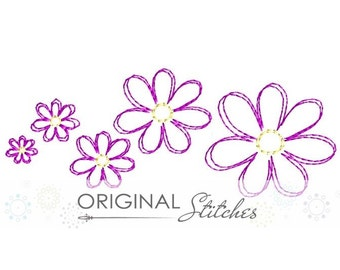 Quick Stitch Mini Daisy Set Embroidery Digital Design File 1/2 in, 3/4 in, 1 in, 2in, 4x4