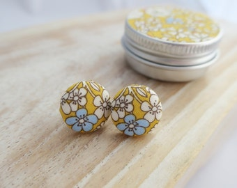 Liberty London Earrings or Cuff Links in matching tin. June's Meadow 15mm fabric buttons. Mother's Day Gift.