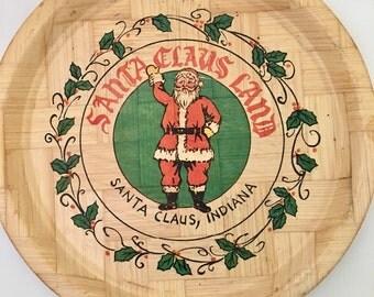 Vintage Bamboo Santa Claus Land Souvenir Platter, Santa Claus Indiana Collectible Plate, Holiday World Large Platter, Amusement Park