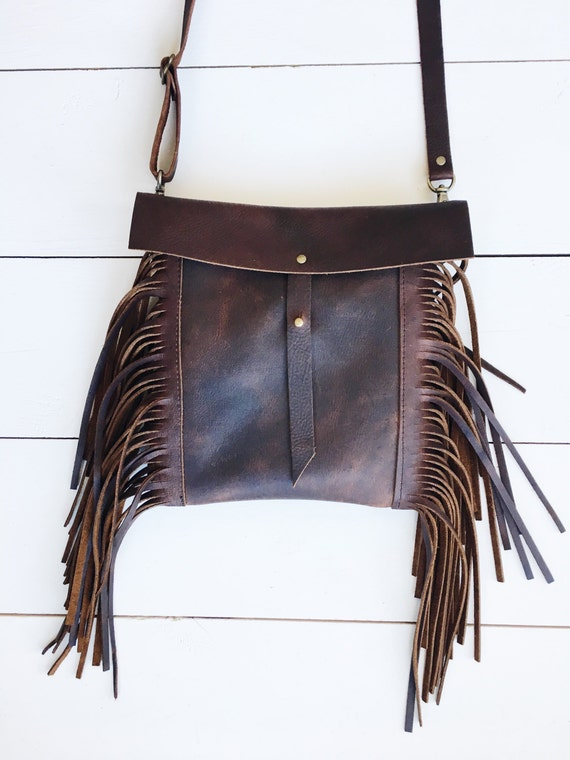 Brown leather crossbody bag, brown leather purse, crossbody purse, leather shoulder bag, everyday bag, leather purse, fringe