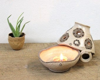 Pottery Candle Holder, Handmade Candle Holder, Pottery Candle Keeper, Handmade Ceramic Lamp, Ceramic Candle Holder, Candle Keeper