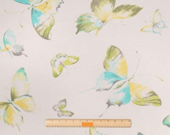 One 50 x 17 Custom Lined Valance - Butterfly - Blue Yellow Green Grey