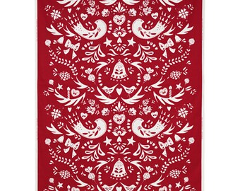 """Two 96"""" x 50""""  Custom Curtain Panels   - Birds Floral - Red"""