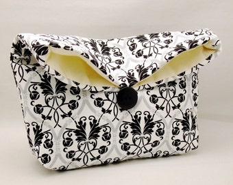 Foldover clutch, Fold over bag, clutch purse, evening clutch, wedding purse, bridesmaid gifts - Damask on white (Ref. FC63 )