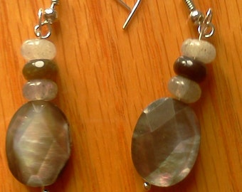 Faceted Mother of Pearl and Gem Stone Dangle Earring