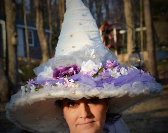 White Witch Flowered Hat