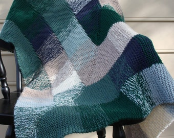 Woodland Lap Blanket/ Hand Knit Green, Blue, White, Brown Throw