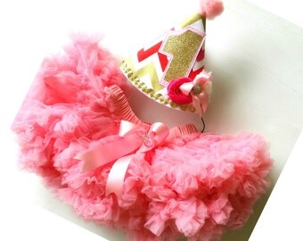 Stunning Rose Pink Chiffon Pettiskirt and Matching 1st Birthday Party Hat  for Birthday Parties Photo shoots