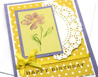 Bday Cards For Woman - Happy Birthday Her - Girlfriend Birthday - Flower Card For Mom - Sister Birthday Card - Card For Coworker