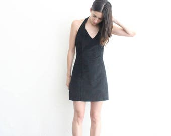 vintage black retro halter dress