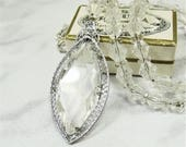 SALE! Art Deco 1930's Sterling Silver & Rhodium Filigree Necklace Pretty Clear Glass Crystals
