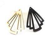 39x 50mm Filigree Nature / Black Geometrical Fan Wood Dangle/ Wooden Charm/Pendant NM127