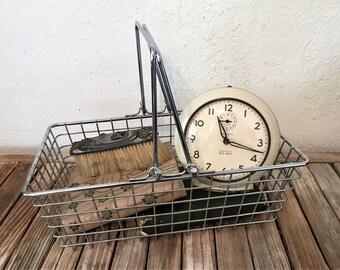 Vintage Silver Metal Shopping Basket