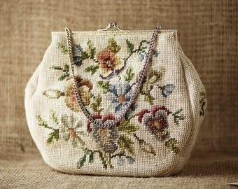 Vintage Handbag / Christine Custom Purse / Needlepoint Purse / Handmade Detroit Michigan
