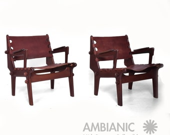 Mid Century Modern Pair of Safari Chairs by Angel Pazmino