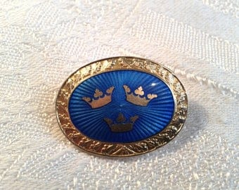 Vintage Swedish 1939 Enamel Brooch, Pin. Blue and Gold, Three Crowns. WWII?
