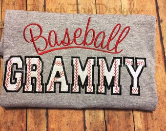 Baseball Grammy Grandparent Applique Shirt Customized