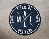 Happy Mail Sticker Special Delivery Mailing Label Shipping Label Monochrome