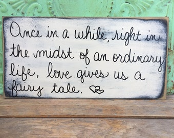 Ivory and Black Distressed Fairy Tale Wedding Sign, Wooden Wedding Sign Decor, Fairy Tale Wedding Sign