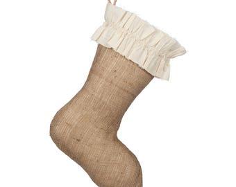 Classic Burlap Stocking - Burlap with Unfinished Cotton Ruffle Cuff - Single Stocking (1)