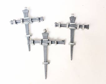3pcs nail crosses pendants religious silver color metal lot destash