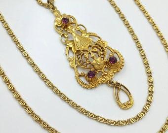 Multi Strand Lavaliere Necklace  Gold Tone Purple Rhinestone Lavaliere Bezel Set Crystals Long Necklace Regency Revival