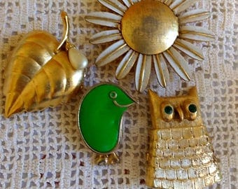 Four Vintage Jewelry Perfume Compact Lot Owl Avon More