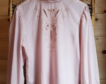 Pale Pink Prairie Blouse//Vintage//Size Small