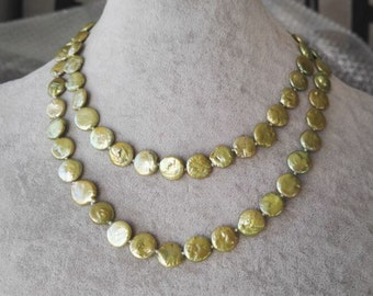 Pearl Necklace - 32 inch green coin pearl long necklace, 10-11 mm coin pearl