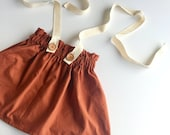Spice Vintage Inspired Ruffle Waist Suspender Skirt, Suspender Shorts, Bloomers, Diaper Cover, Baby & Toddler Skirts