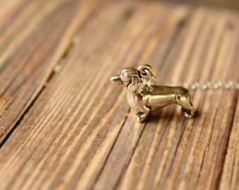 Dachshund Necklace in Sterling Silver, Larger Version