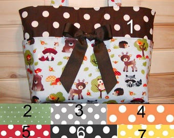 Diaper bag, handbag, purse, book..Woodland Animals..Add Name and end pockets. Customize to match your carseat canopy(see fashionfairytales).