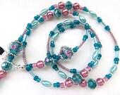 FLORAL GARDEN- Handmade Beaded Eyeglass Lanyard/ Eyeglass Chain- Lampwork Beads, Pearls, and Sparkling Crystals