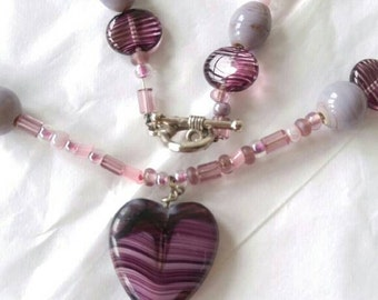 Handmade heart beaded necklace purple stones fluorite